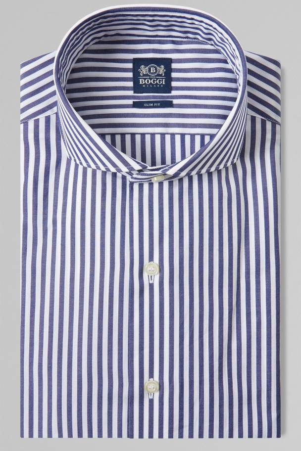 BOGGI MILANO - SLIM FIT BLUE STRIPED SHIRT WITH NAPLES COLLAR