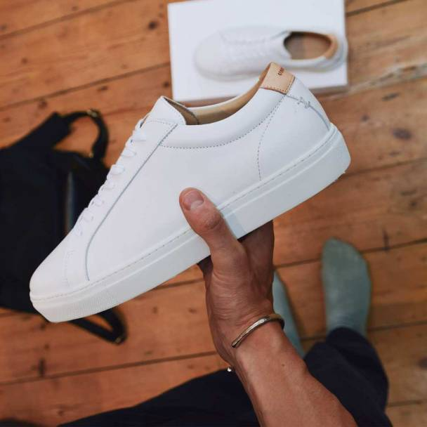 Bombinate White Leather Series 1 Sneakers