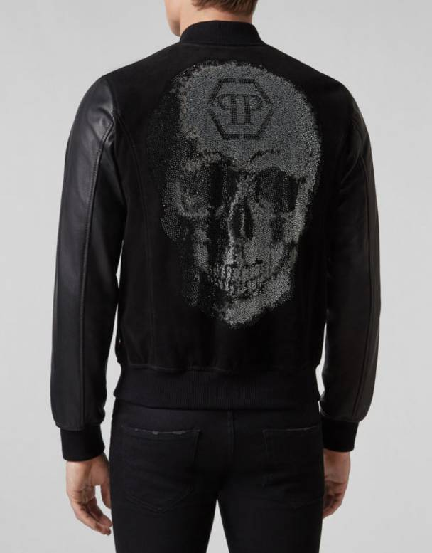 image  1 PHILIPP PLEIN LEATHER BOMBER SKULL